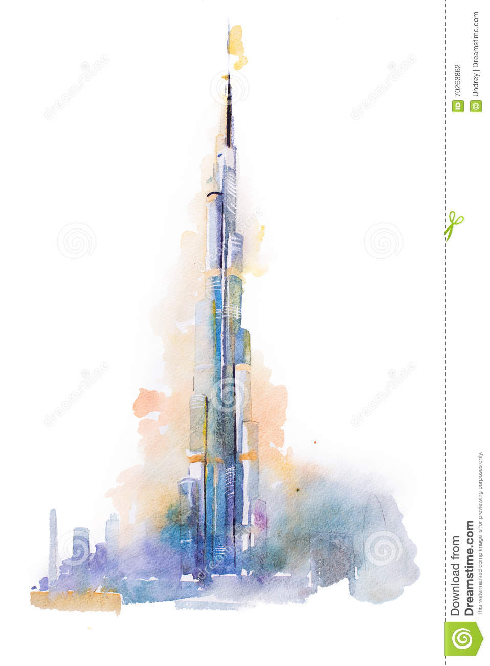 Watercolor drawing of burj khalifa tower in dubai stock for Burj khalifa sketch