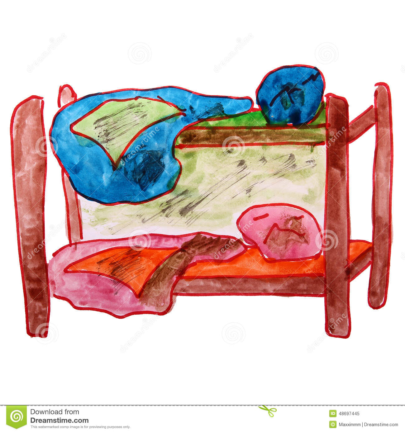 Watercolor Drawing Children Bed, Bunk Cartoon On A Stock Illustration - Image: 48697445