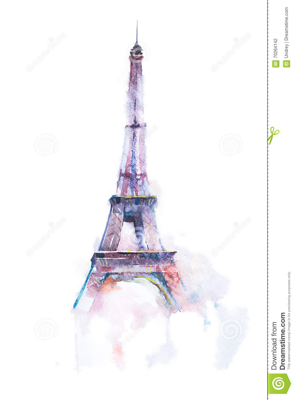 Watercolor drawing of eiffel tower in paris on white background