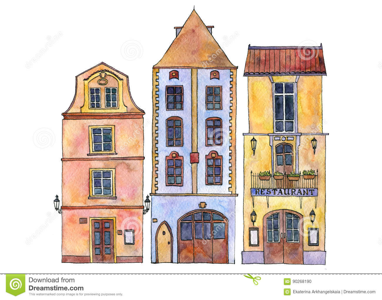 European Cottage House Plans Watercolor Drawing Houses Stock Illustration Image 90268190