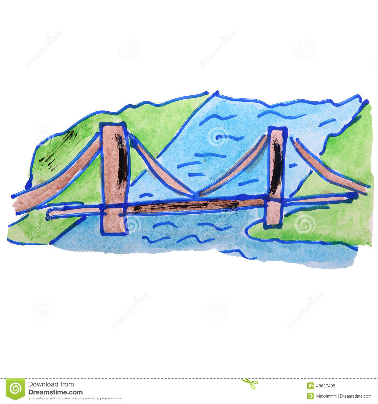Watercolor drawing kids Bridge Drawing For Kids