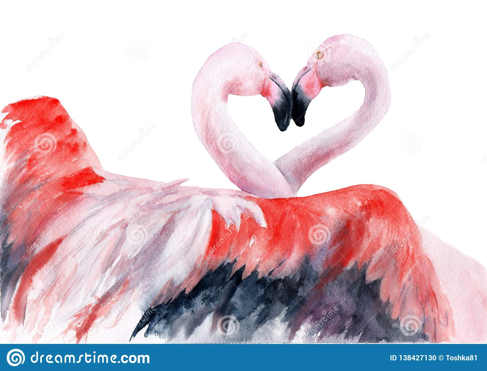 Watercolor Drawing Love Birds Flamingo Kiss Sketch Stock Illustration Illustration Of Watercolor Bird 138427130
