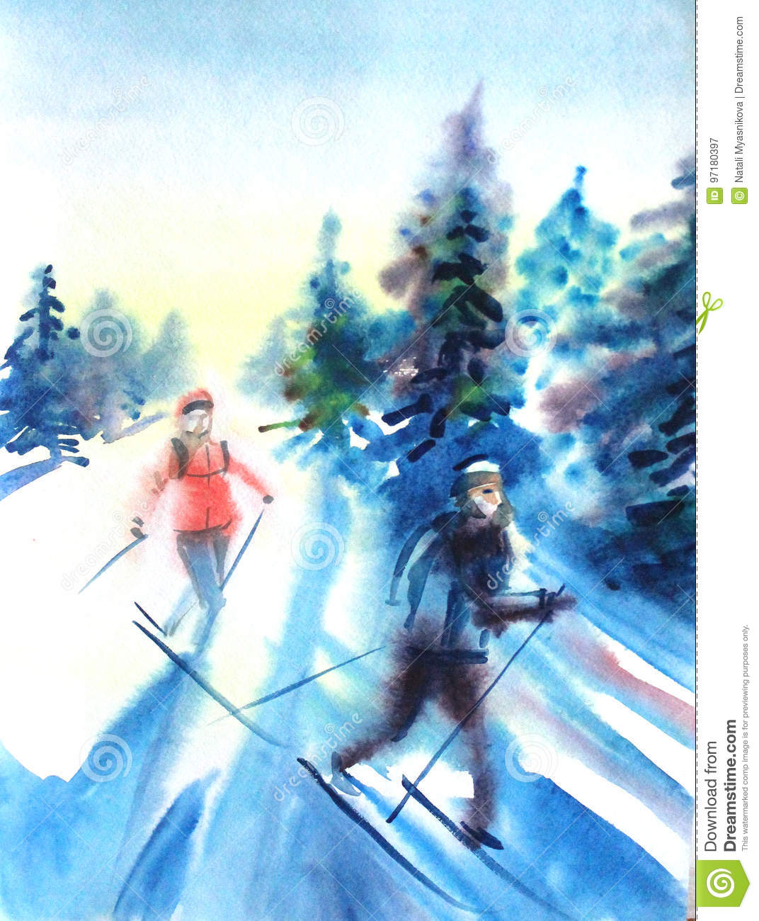 Watercolor Drawing Painting Female And Male On Ski In Winer Snow Forest Sport Ski Nature Concept Stock Illustration Illustration Of Climate Blue 97180397