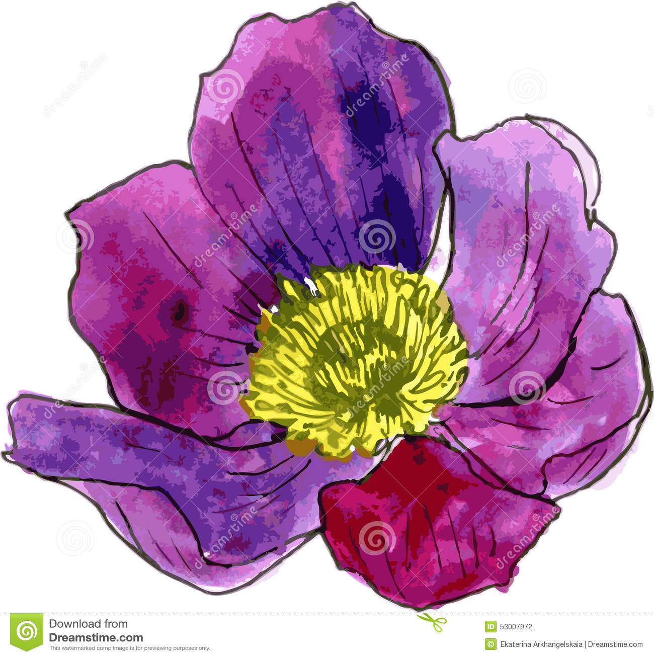 This is an image of Striking Purple Flowers Drawing