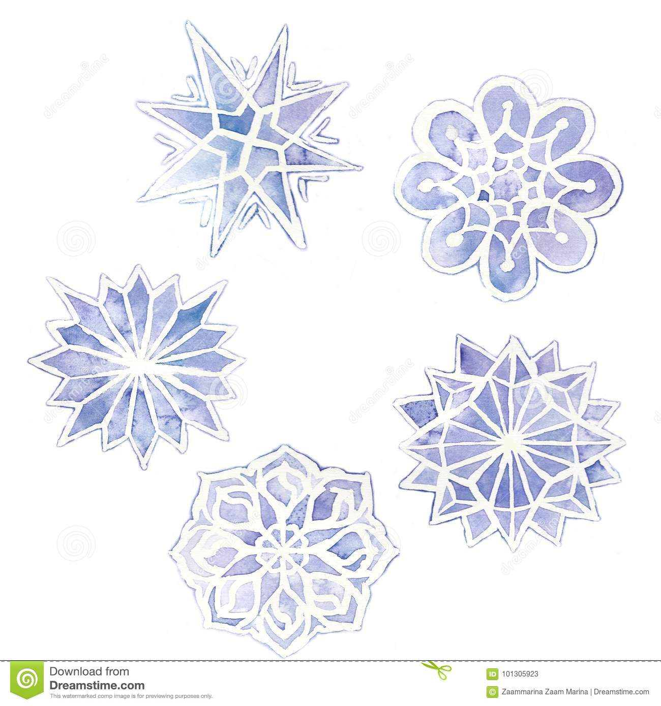 watercolor drawing of snowflakes, set of 6 snowflakes, purple on a white