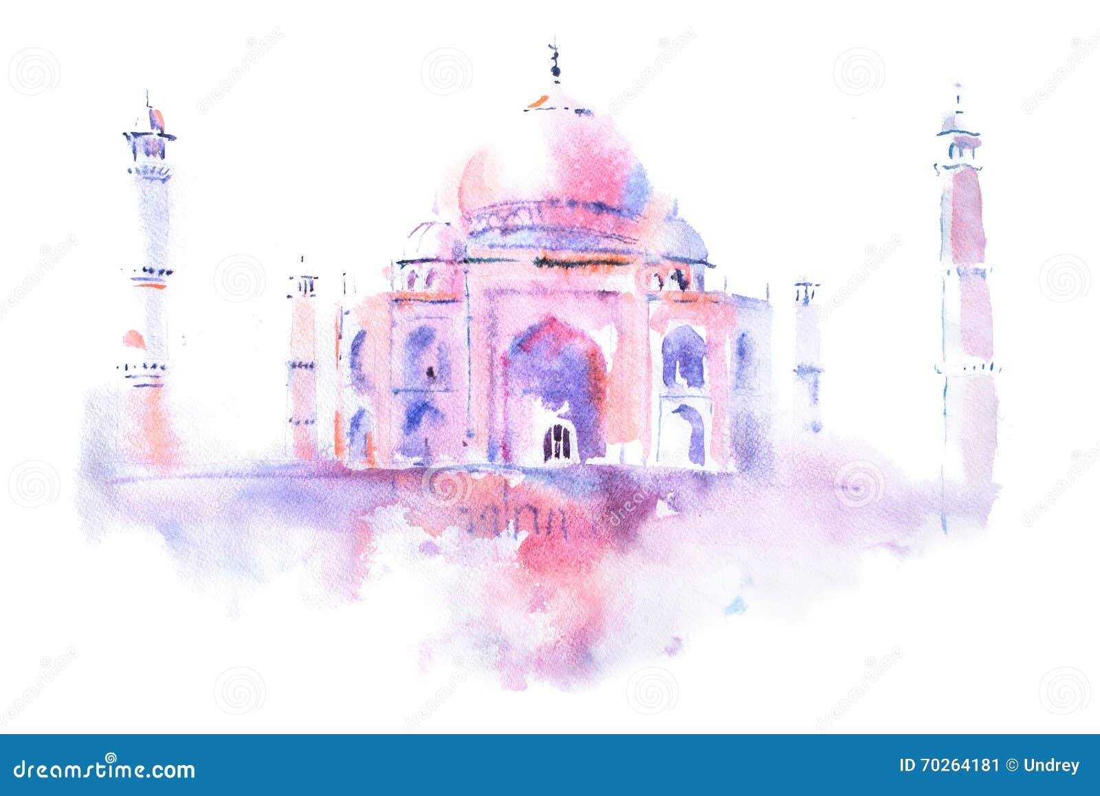 Watercolor Drawing Of Taj Mahal In Agra, India Stock Image ...