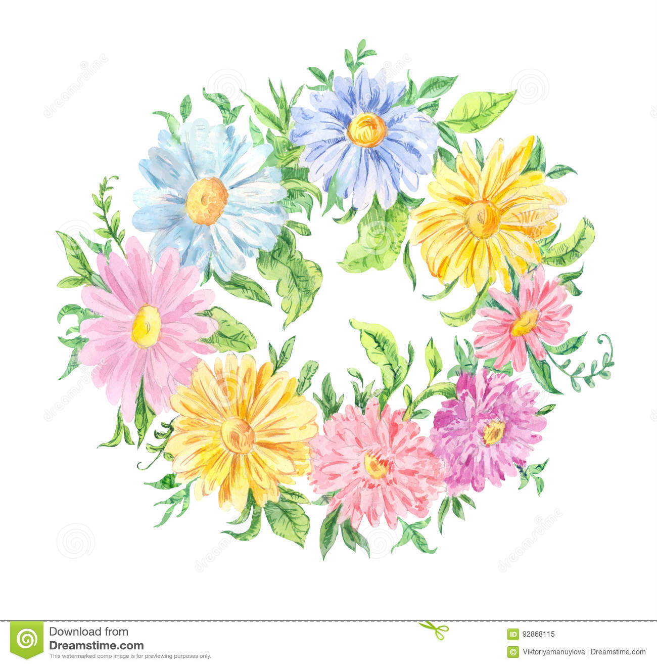 Watercolor Drawing Wreath Of Pink Blue And Yellow Flowers Stock