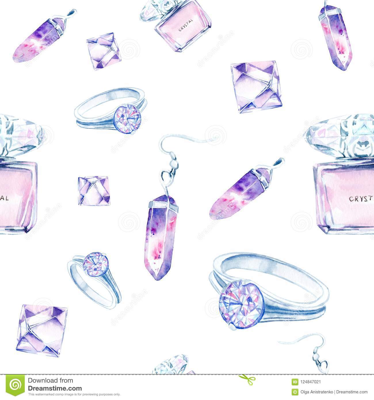 Watercolor Drawings Of Crystals, Jewelry Made Of Crystals