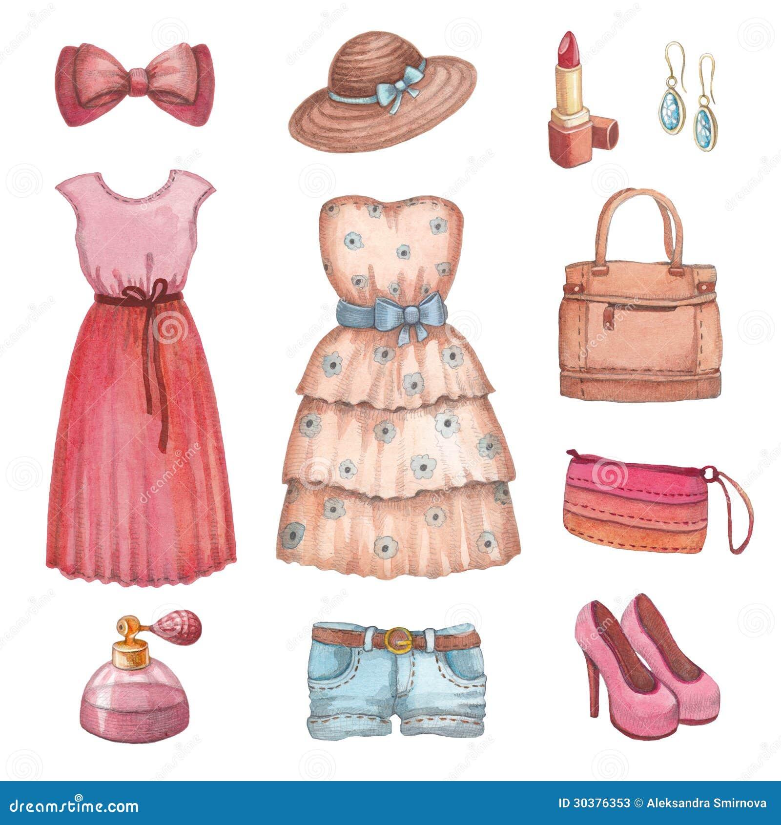 Watercolor dresses and accessories stock illustration for Vintage kleider kinder