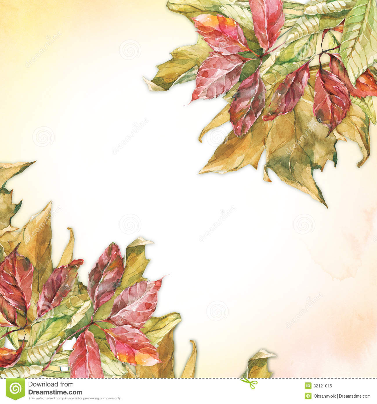 Watercolor Dry Autumn Leaves Corners