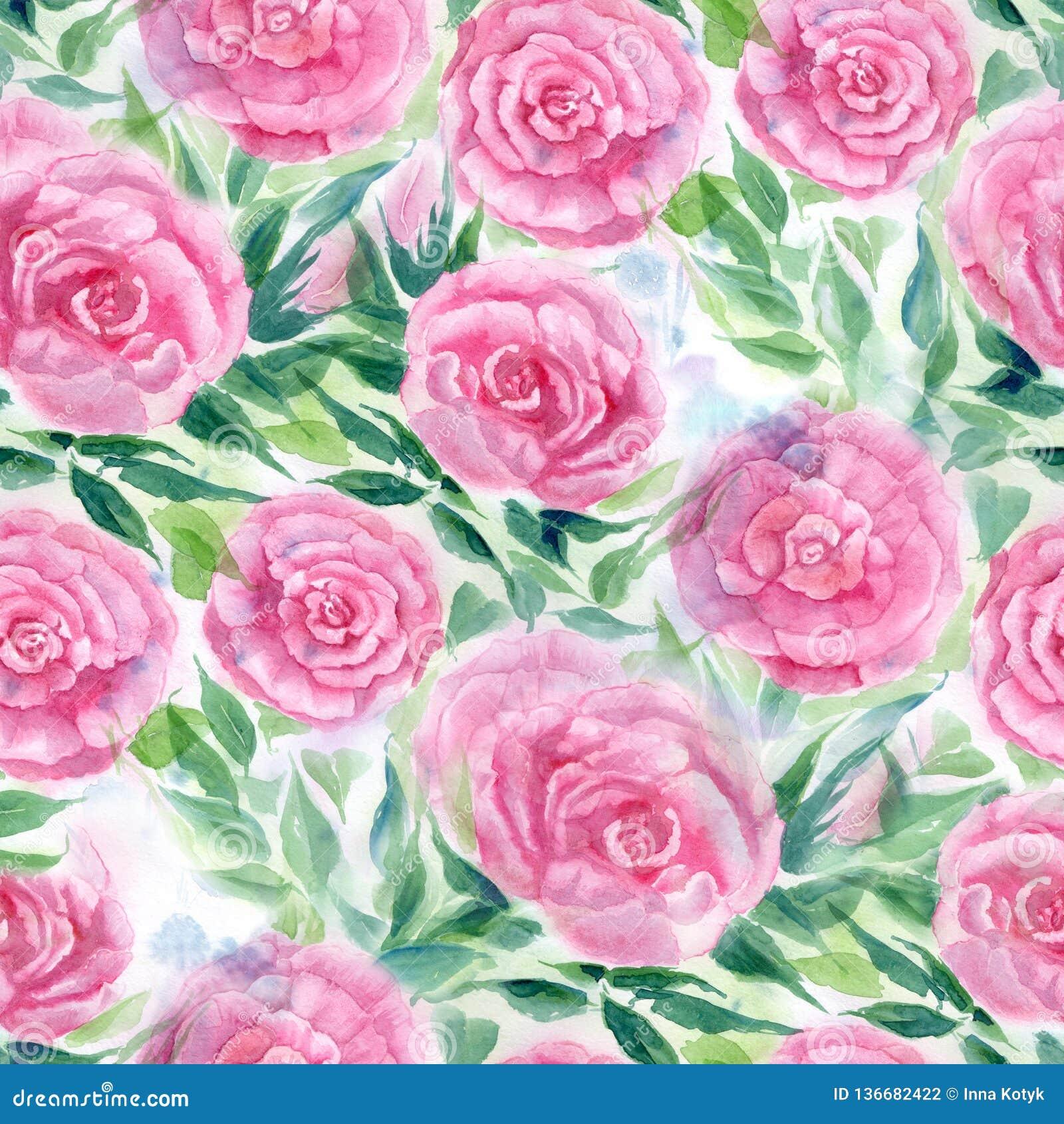 Watercolor E Papel pintado abstracto con adornos florales Modelo inconsútil
