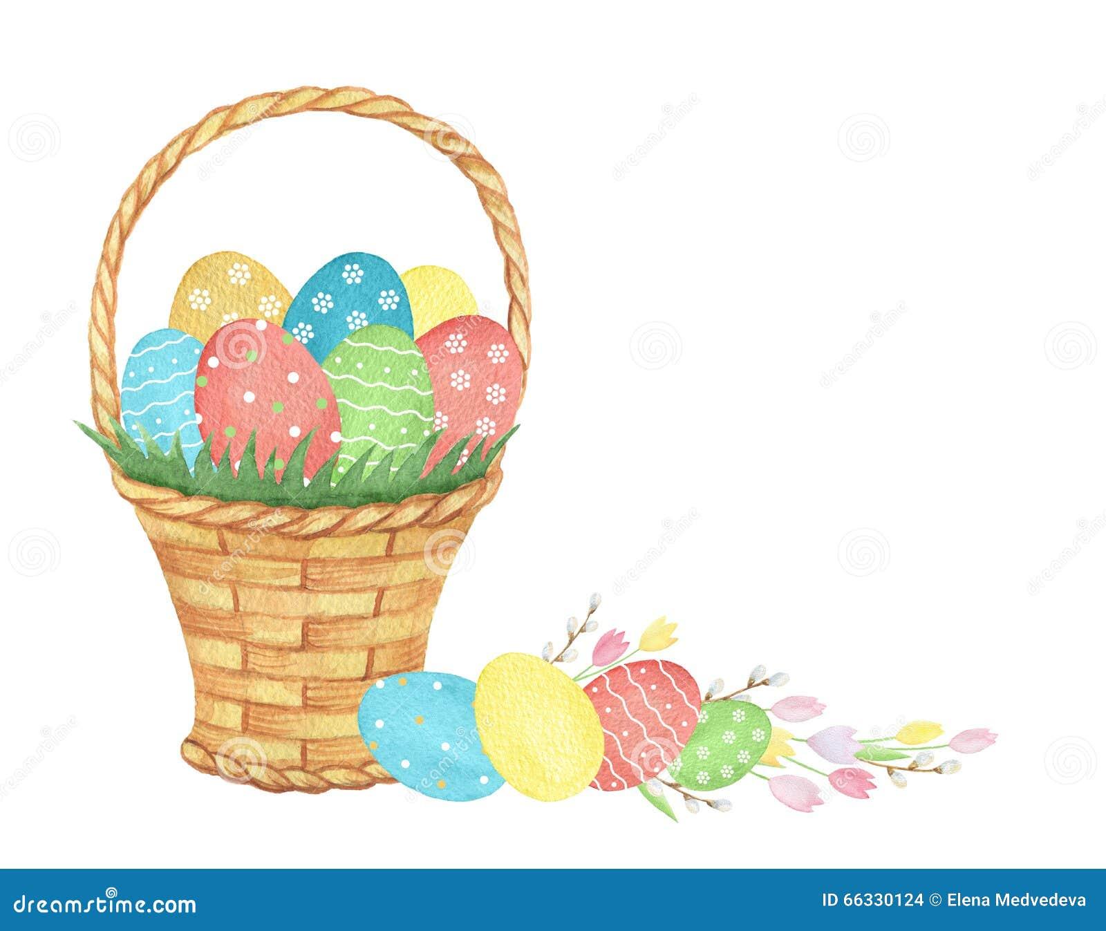 Flower Baskets Vector : Watercolor easter basket stock illustration