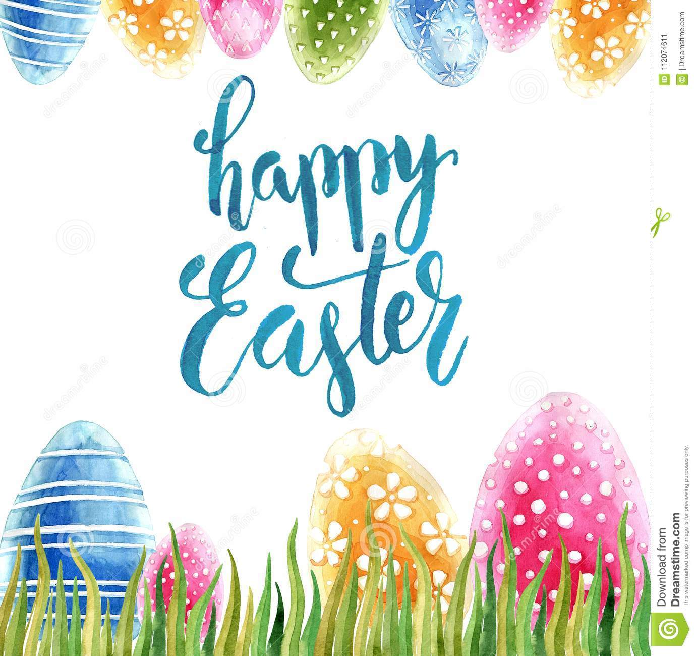 Watercolor Easter Holiday Cards Stock Image Image Of Calligraphic
