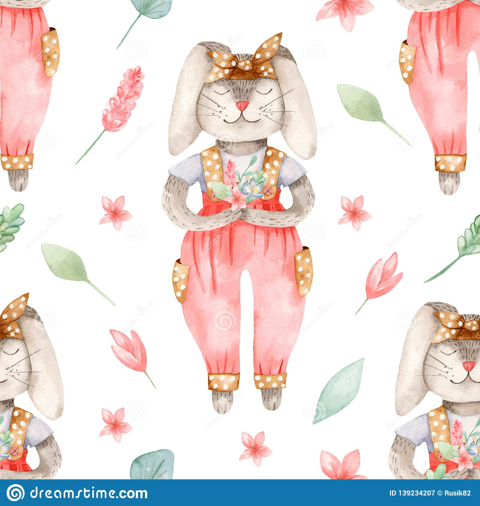 Watercolor Easter Seamless Pattern With Cute Bunny With Flowers Stock Illustration Illustration Of Magical Invitation 139234207