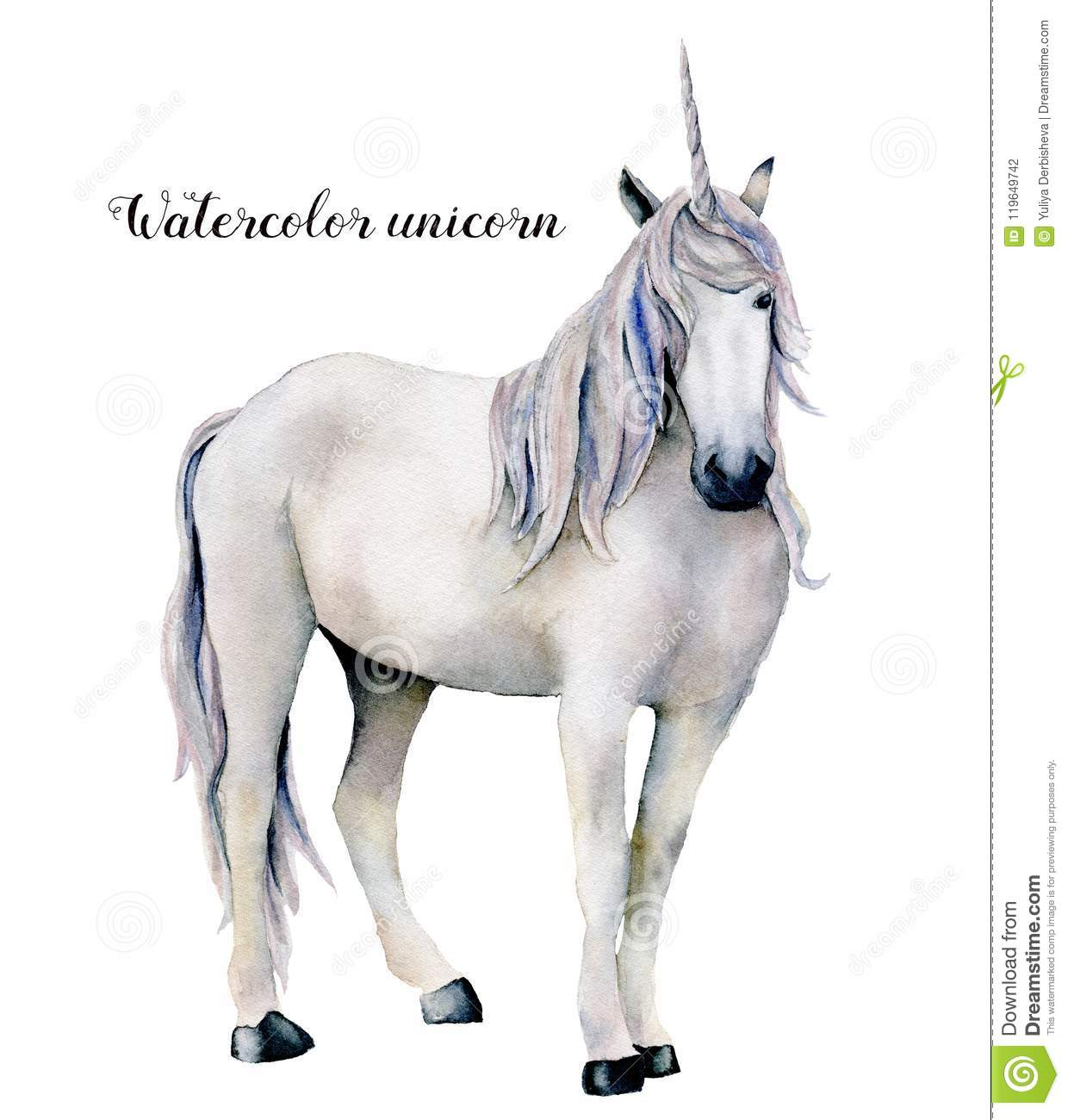 Watercolor Elegant White Unicorn Hand Painted Magic Horse Isolated On White Background Fairytale Character Stock Illustration Illustration Of Design Drawing 119649742
