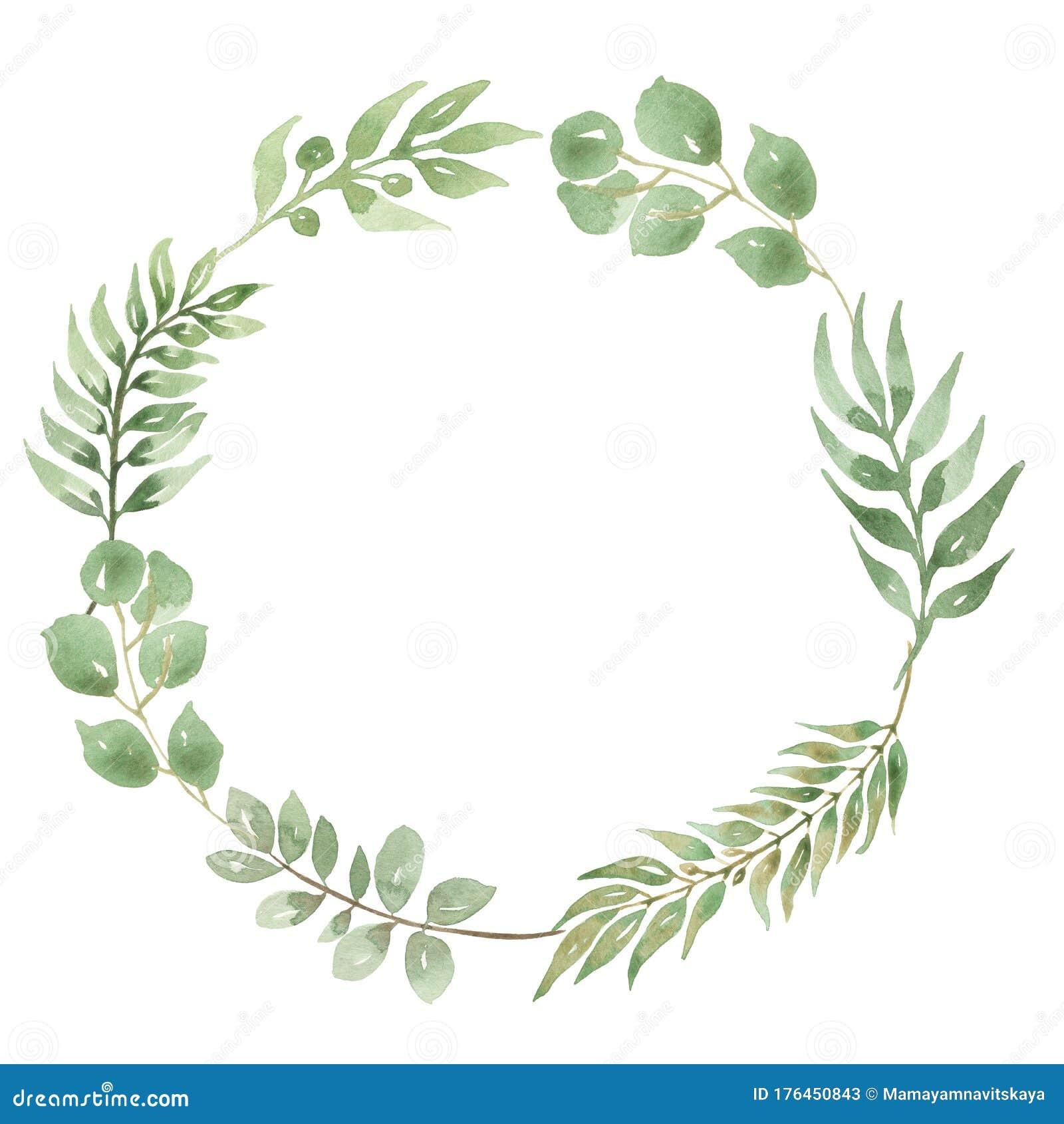 Watercolor Eucalyptus Leaves Wreath. Modern Wedding Invitation ...