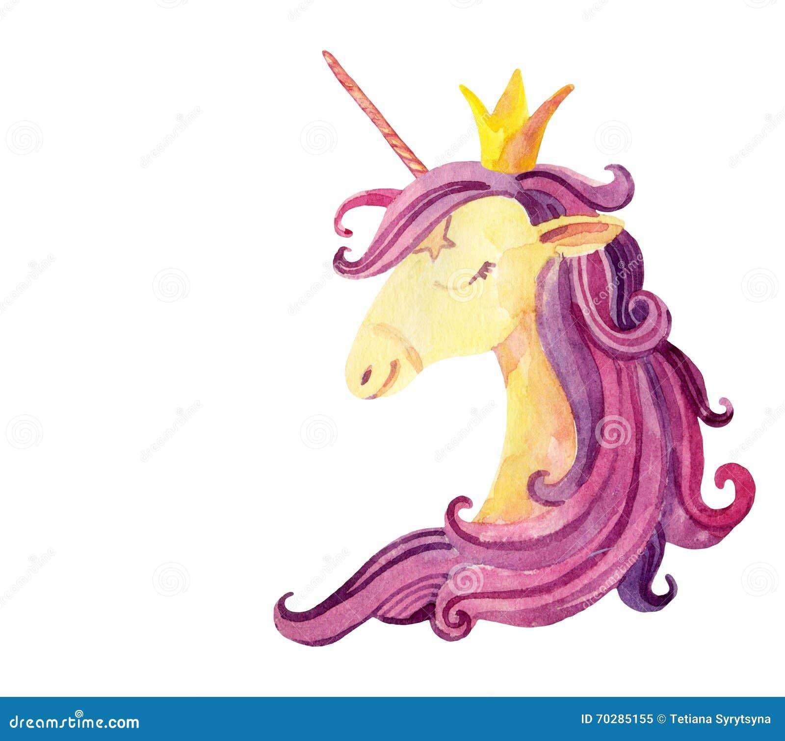 Watercolor Fairy Tale Card With Magic Unicorn Stock Illustration