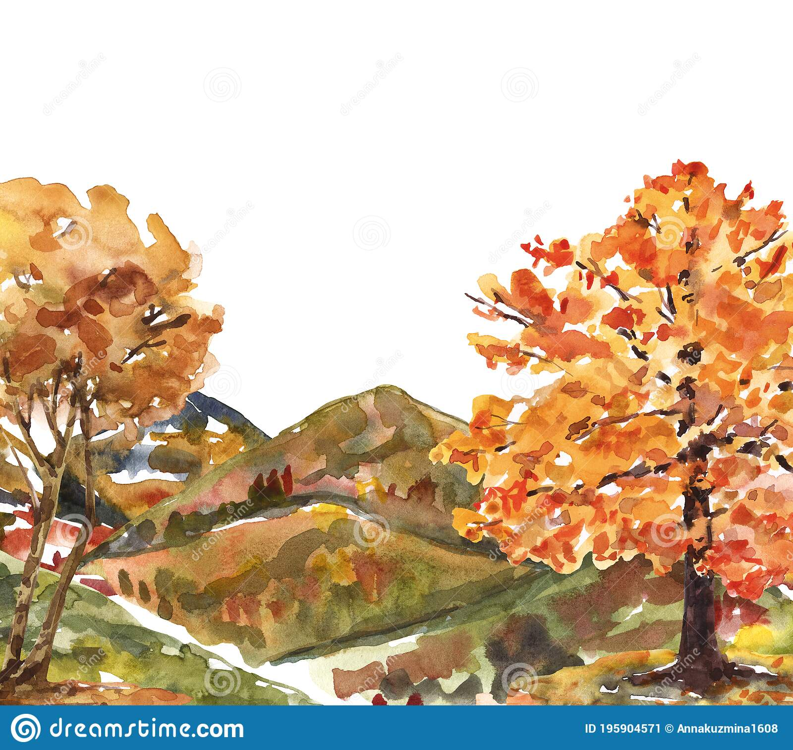 Watercolor Fall Mountain Landscape Painting Colorful Forest Trees On A Hill Illustration Stock Illustration Illustration Of Orange Tree 195904571