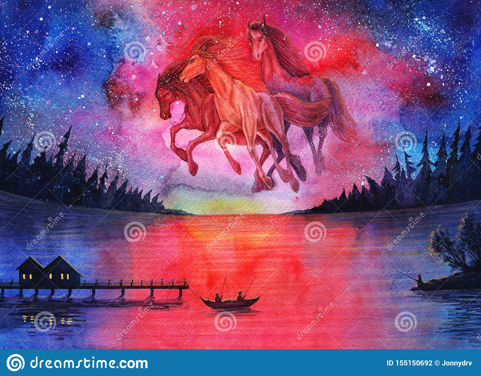 Watercolor Fantasy Cosmic Horses Landscape Beautiful Abstract Space Painting With Stars In Sky And Night Forest Galaxy Drawing A Stock Illustration Illustration Of Landscape Digital 155150692