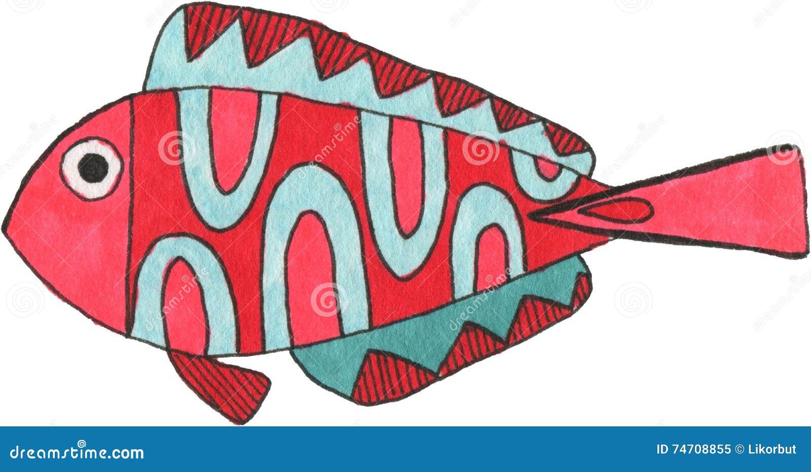 Watercolor fantasy fish. stock illustration. Illustration of ...
