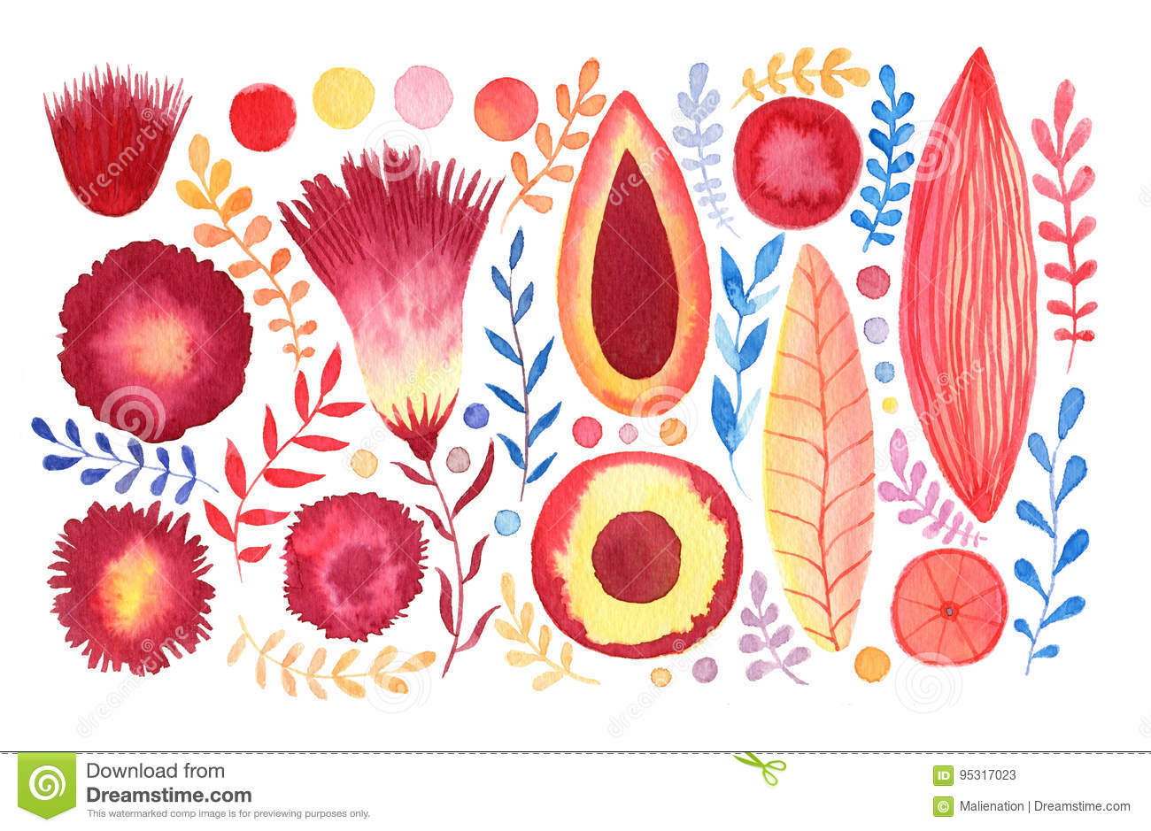 Watercolor Fantasy Flowers Set. Tropical And Stationery Decoration ...