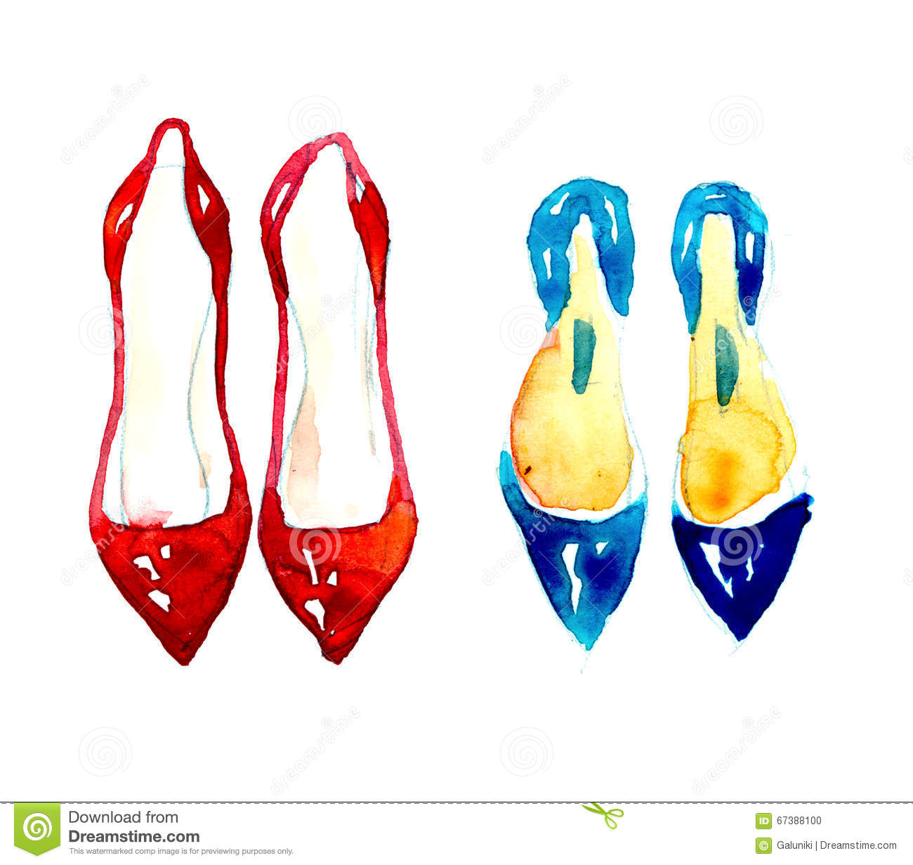 Watercolor Fashion Shoes Stock Illustration - Image: 67388100
