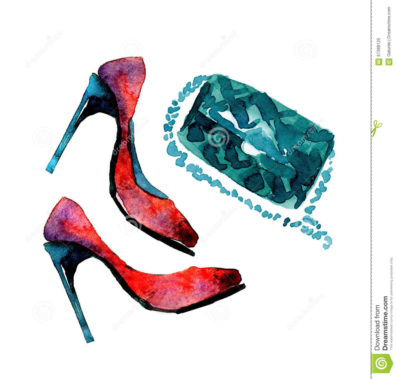 Watercolor fashion shoes stock illustration. Image of ...