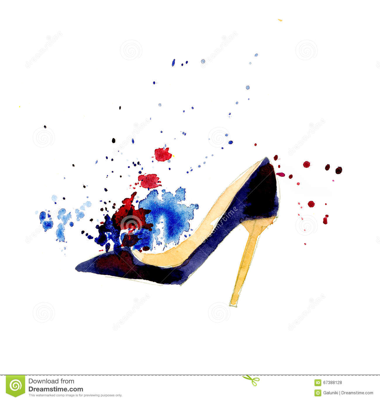 Watercolor fashion shoes stock illustration. Illustration ...