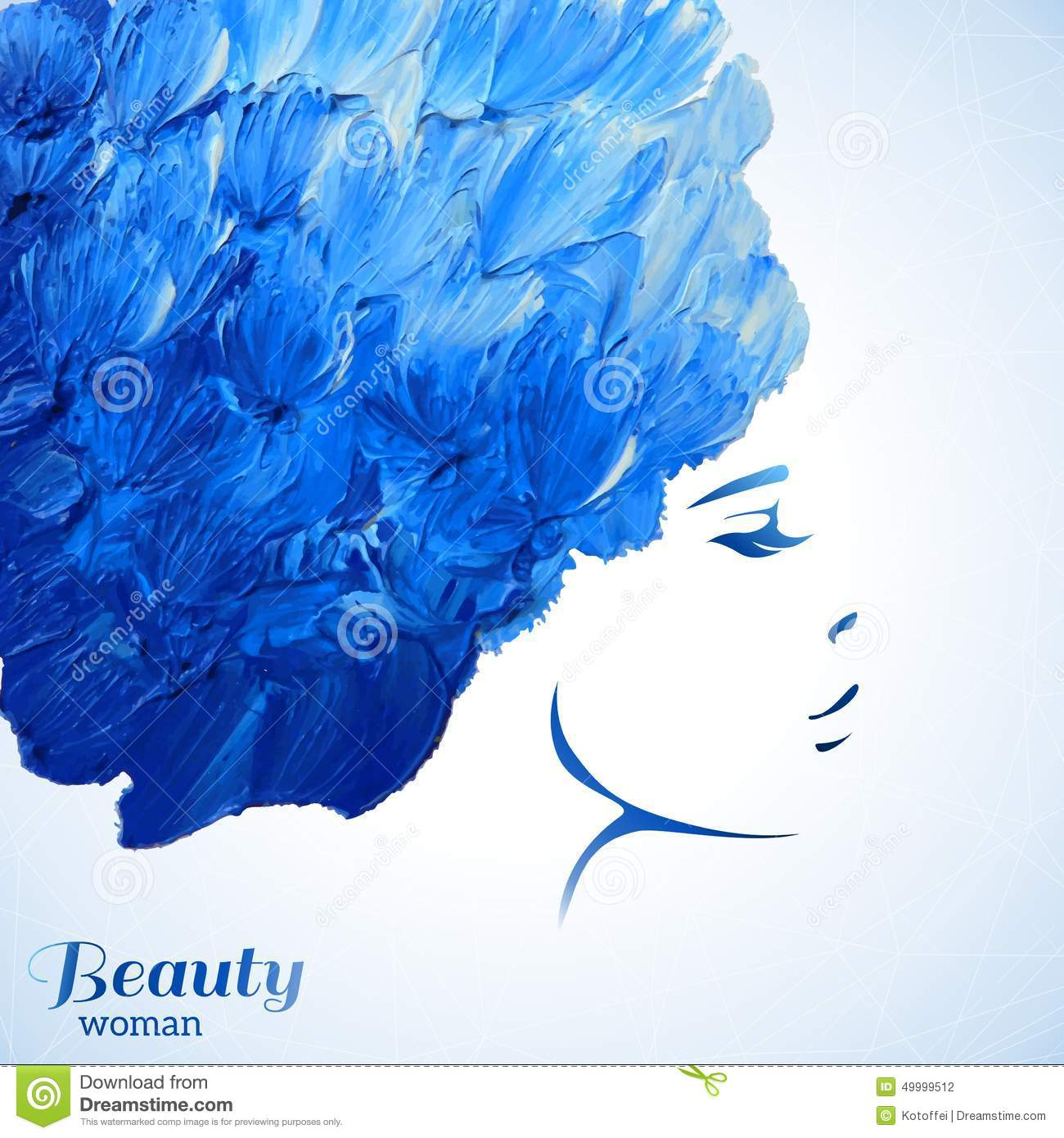 watercolor fashion woman with long hair vector stock