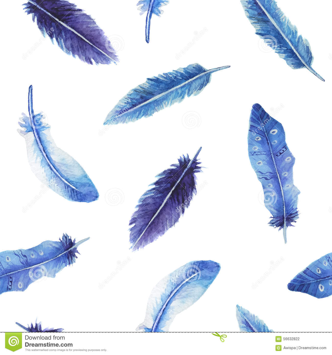 Watercolor feather seamless pattern
