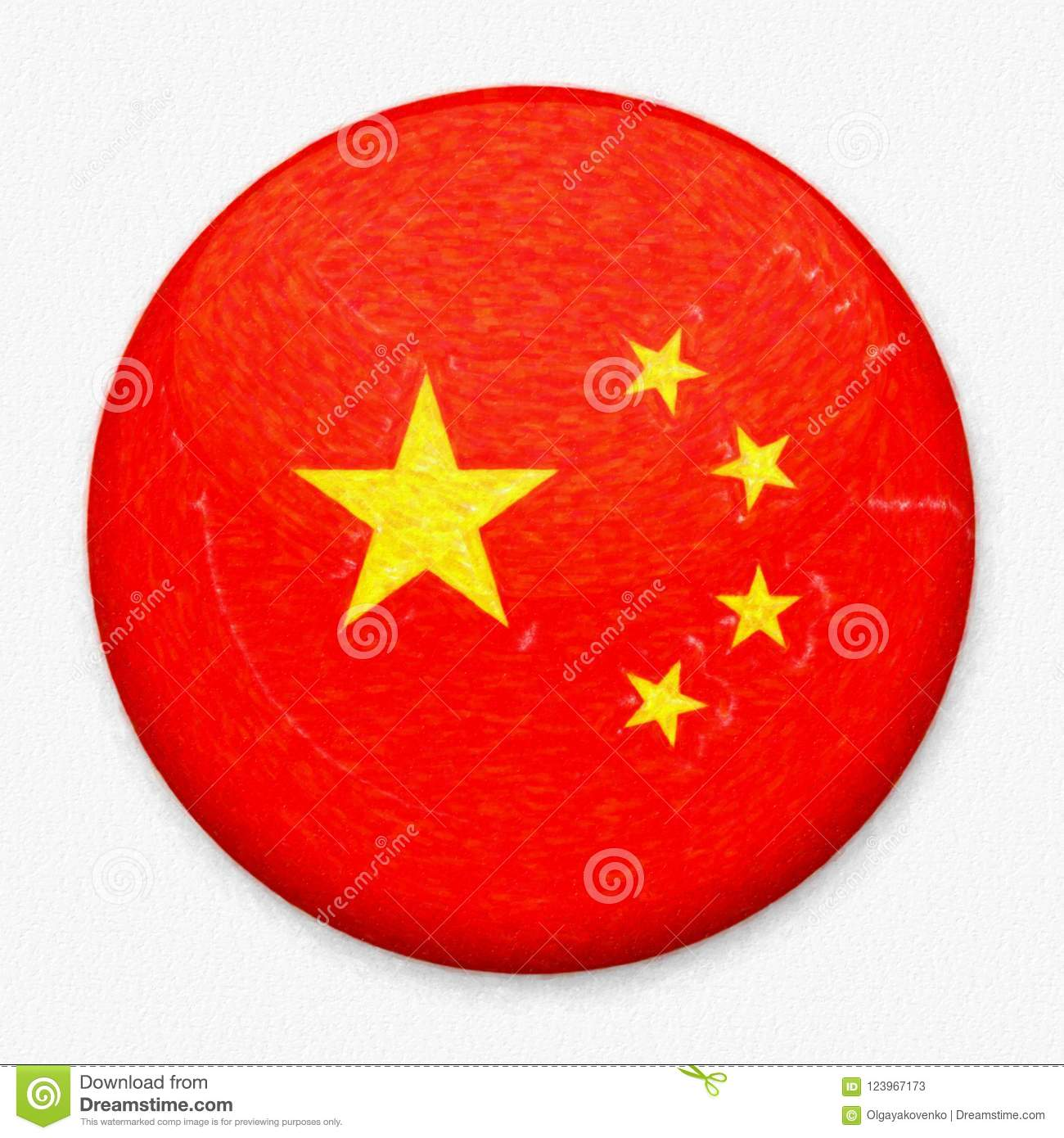 Watercolor Flag of China in the form of a round button