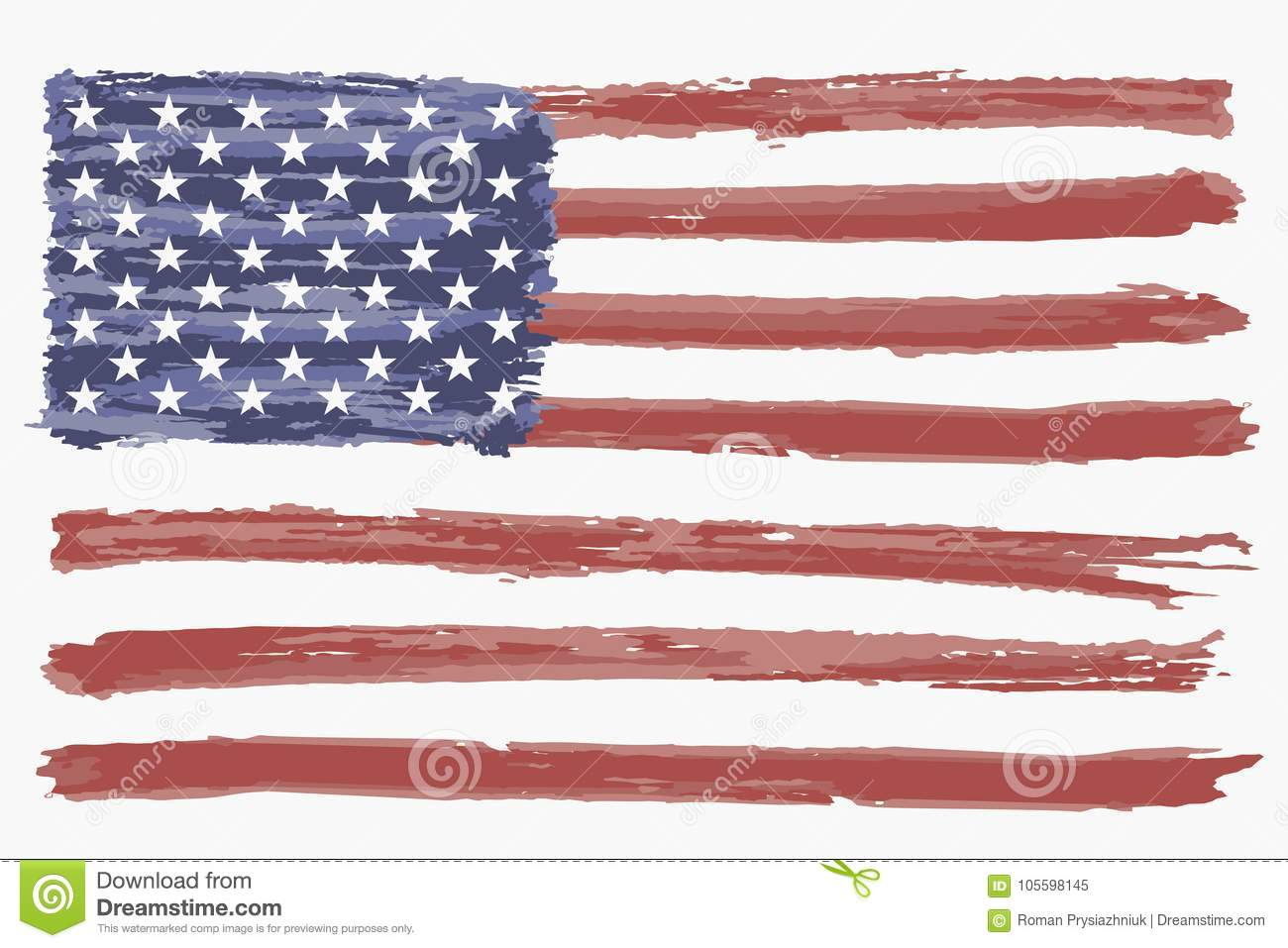 Watercolor flag of USA. American grunge flag, background. Vector.