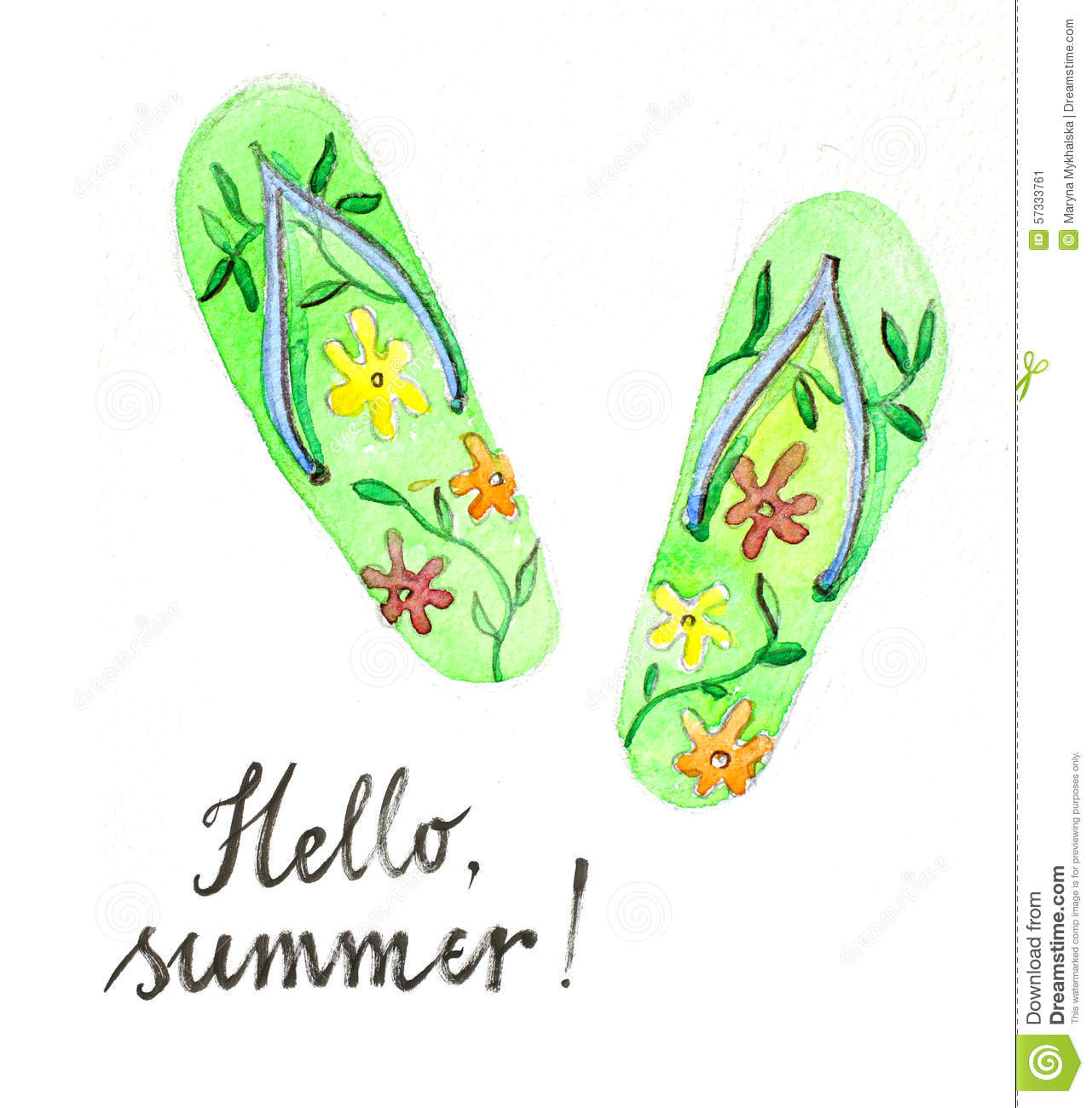 8f79f8641 Watercolor hand drawn flip flops - Illustration. More similar stock  illustrations