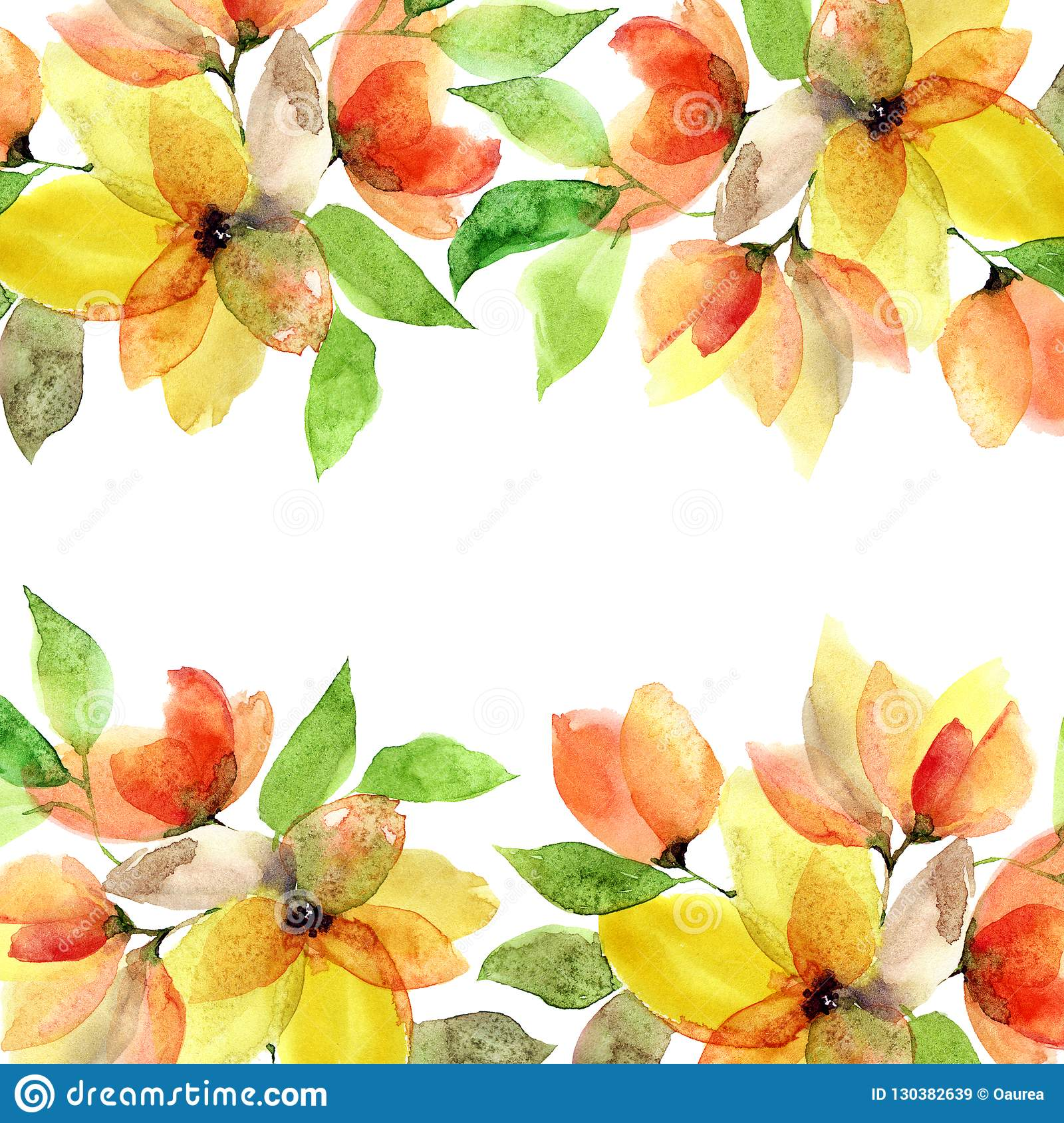 Watercolor Floral Background Drawing Yellow Flowers Wedding