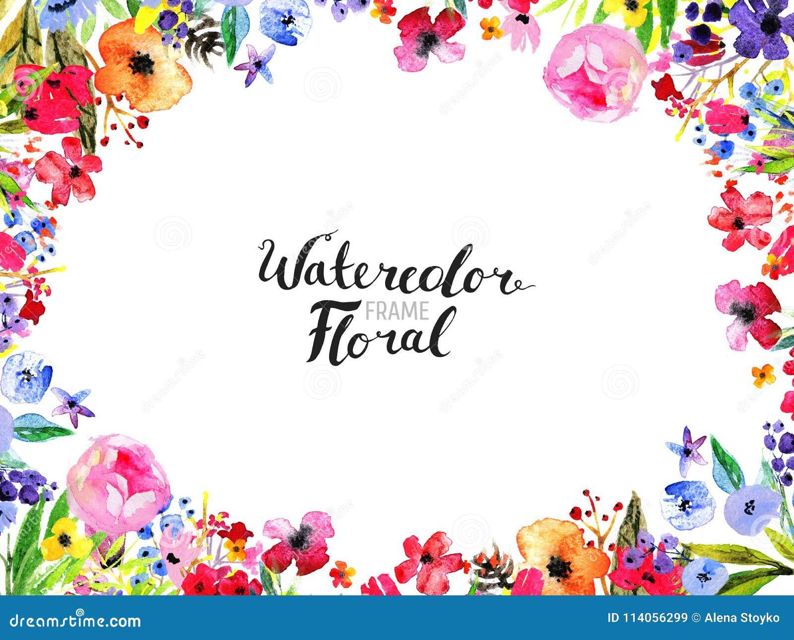 Watercolor Flower Border stock illustration. Illustration ...