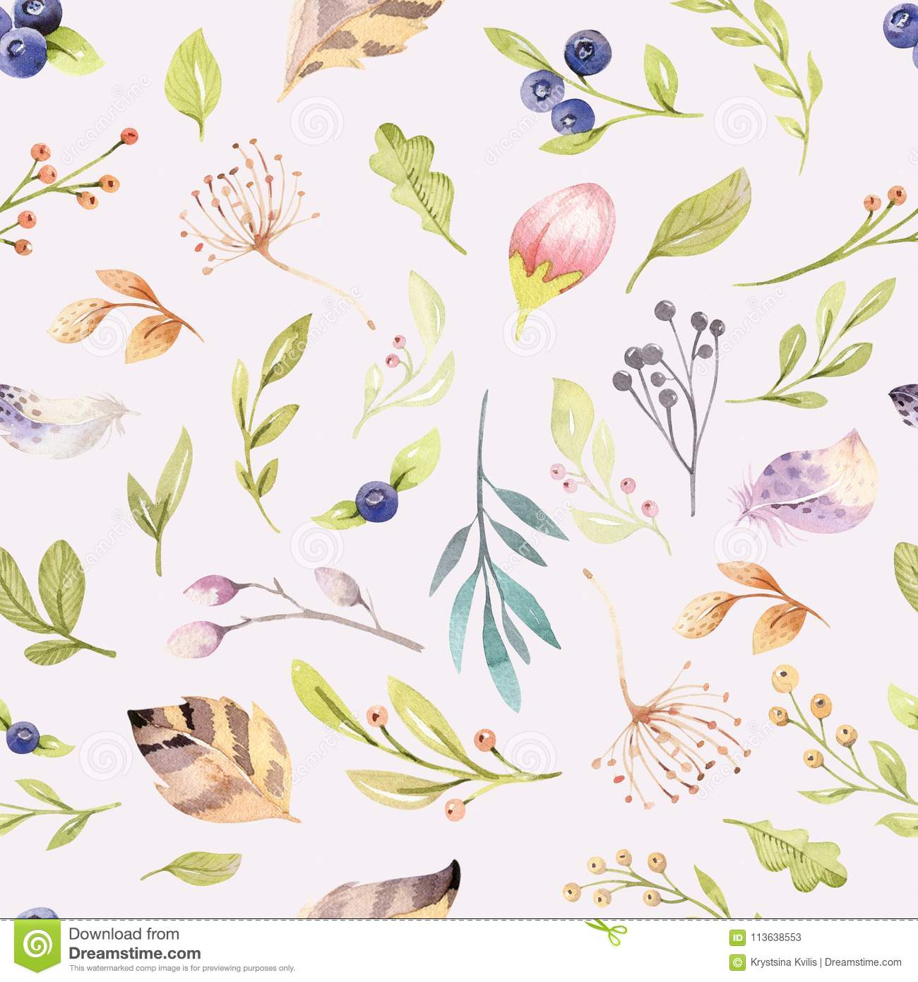 Download Watercolor Floral Bloom Seamless Pattern In Pastel Colors Background With Bloossom Flower And