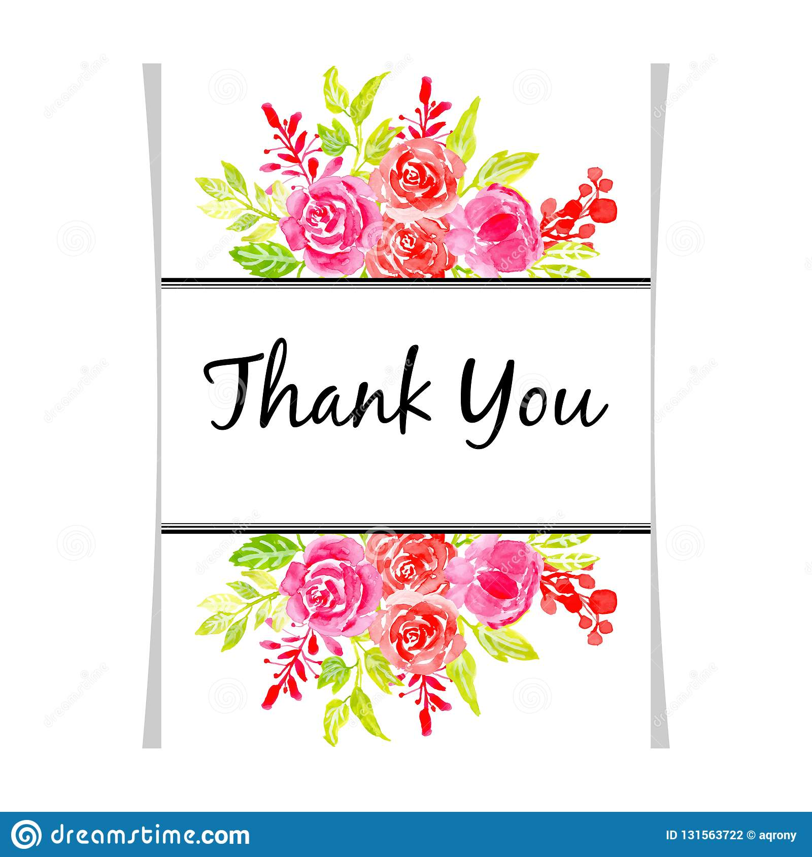 Watercolor Floral Beautiful Frame Thank You Illustration