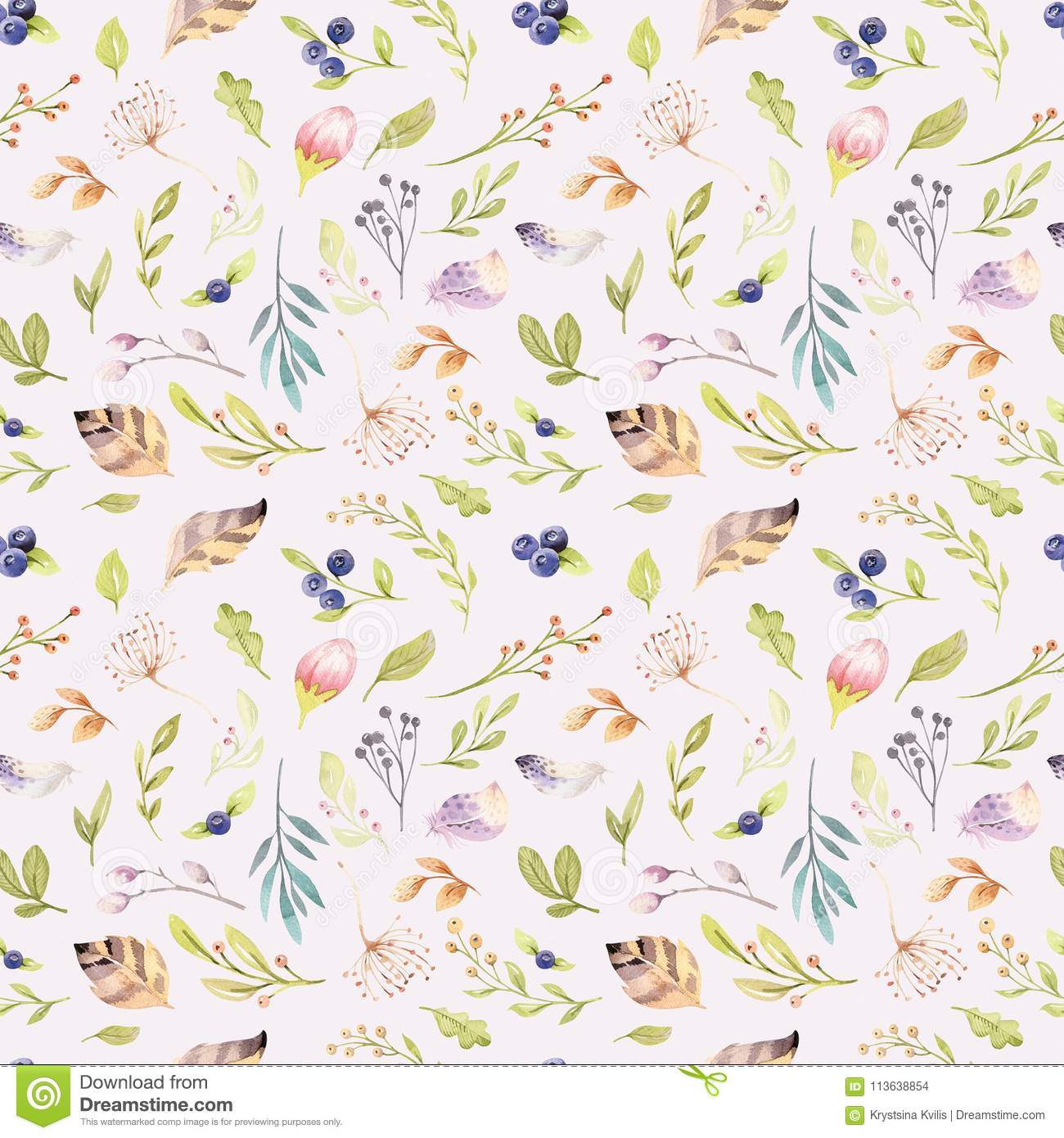Watercolor Floral Bloom Seamless Pattern In Pastel Colors