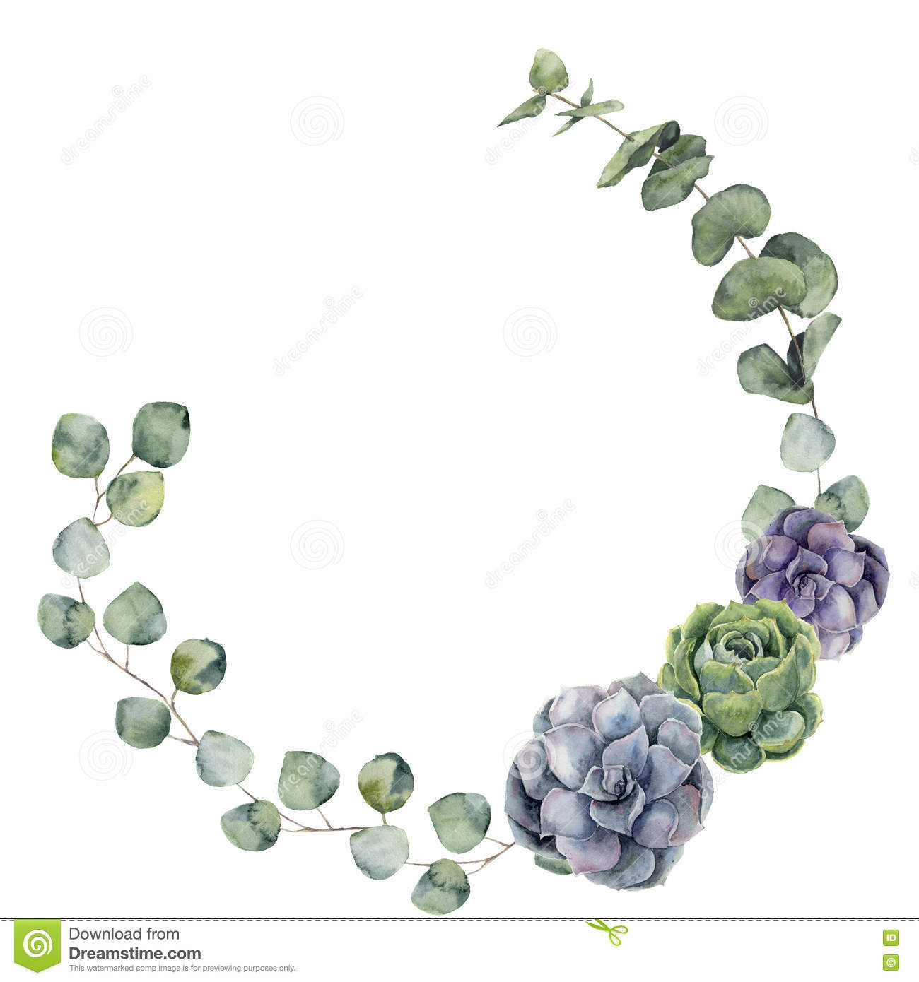 Watercolor floral border with baby, silver dollar eucalyptus leaves and succulent. Hand painted floral wreath with branches, leave