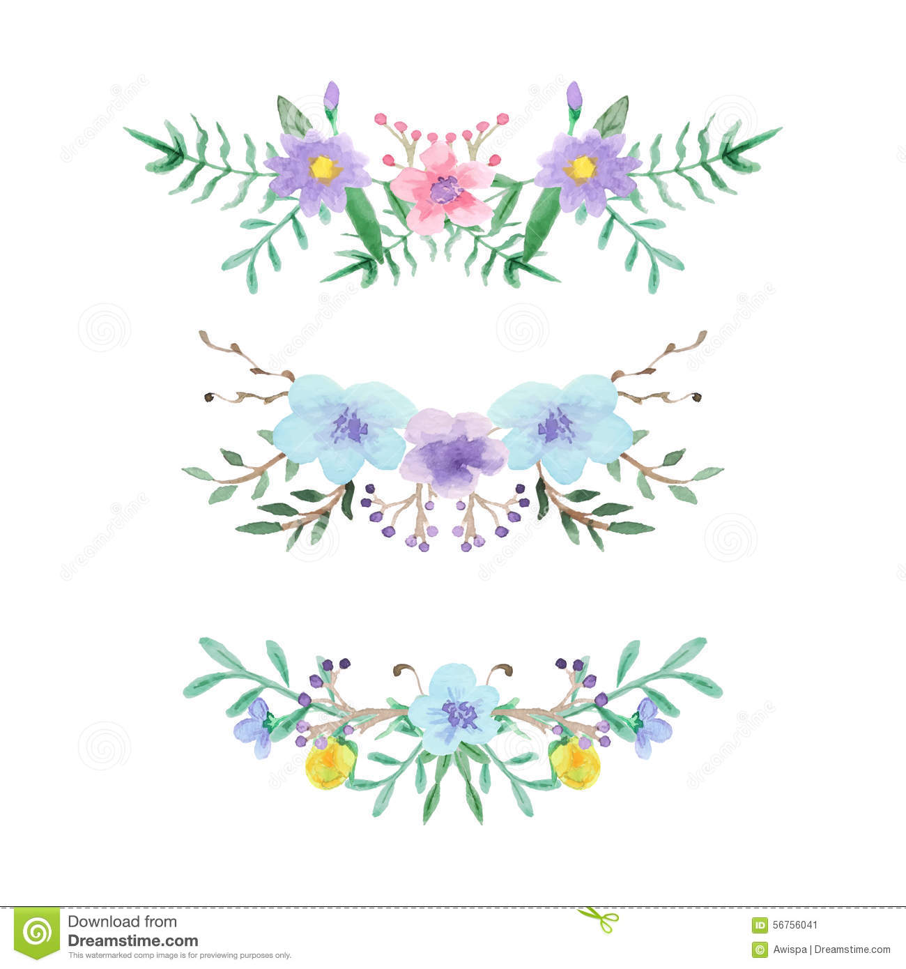 Watercolor Floral Border Set Stock Vector Illustration