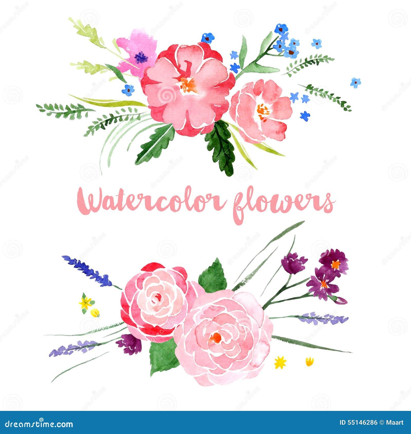 Watercolor floral borders