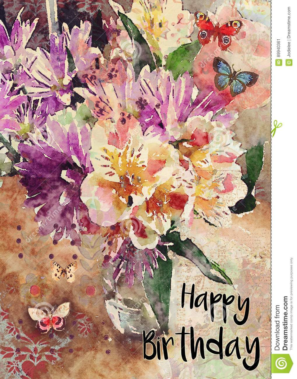 Watercolor Floral Bouquet Happy Birthday Greeting Card Stock