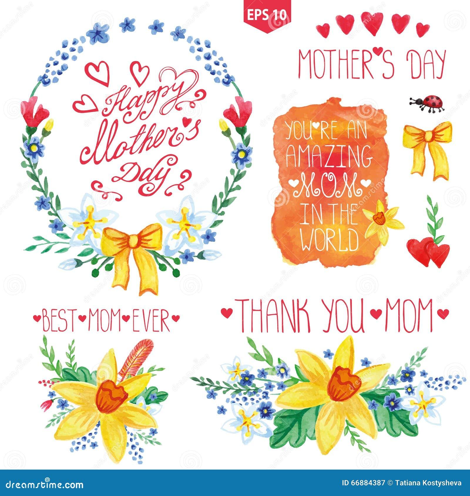 Watercolor floral bouquet headlines set mother day decor - Decoracion dia de la madre ...