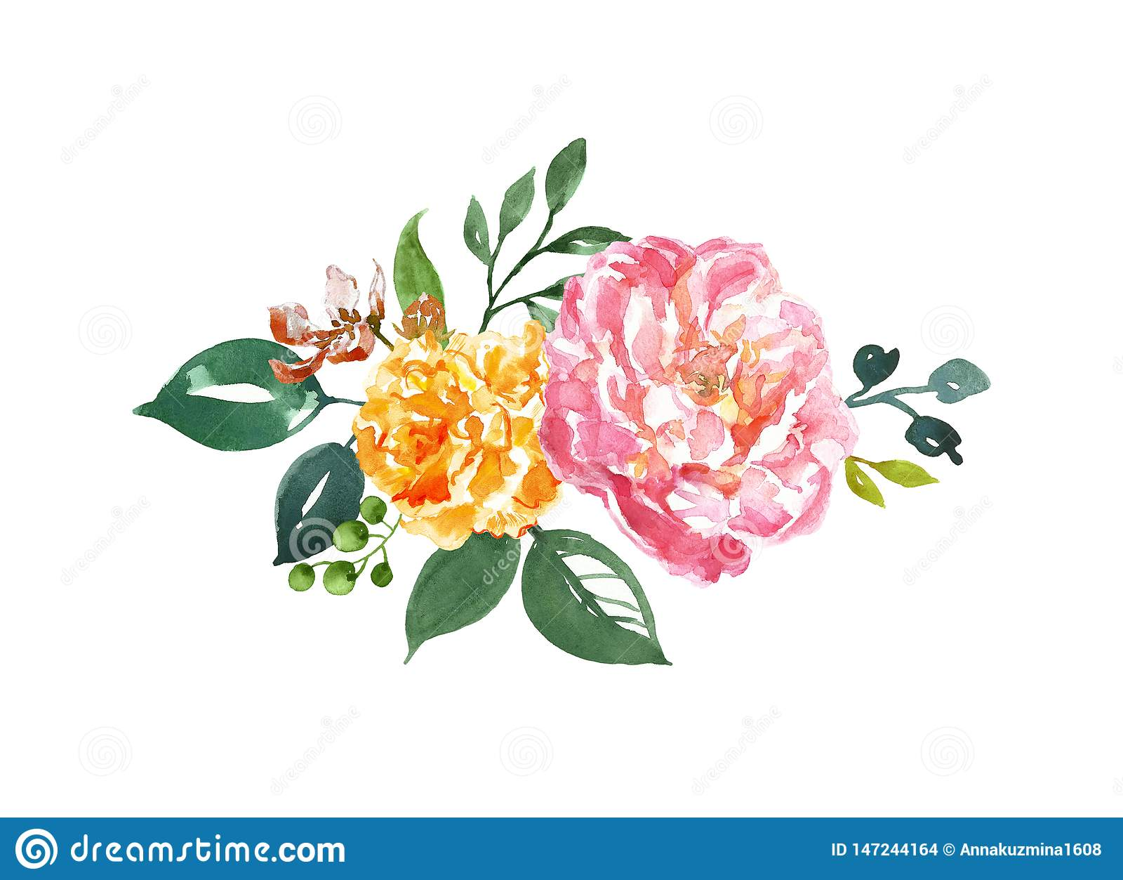 Watercolor Floral Arrangement With Pink And Orange Peonies And Green Leaf On White Background Isolated Flower Bouquet Stock Illustration Illustration Of Arrangement Flowers 147244164