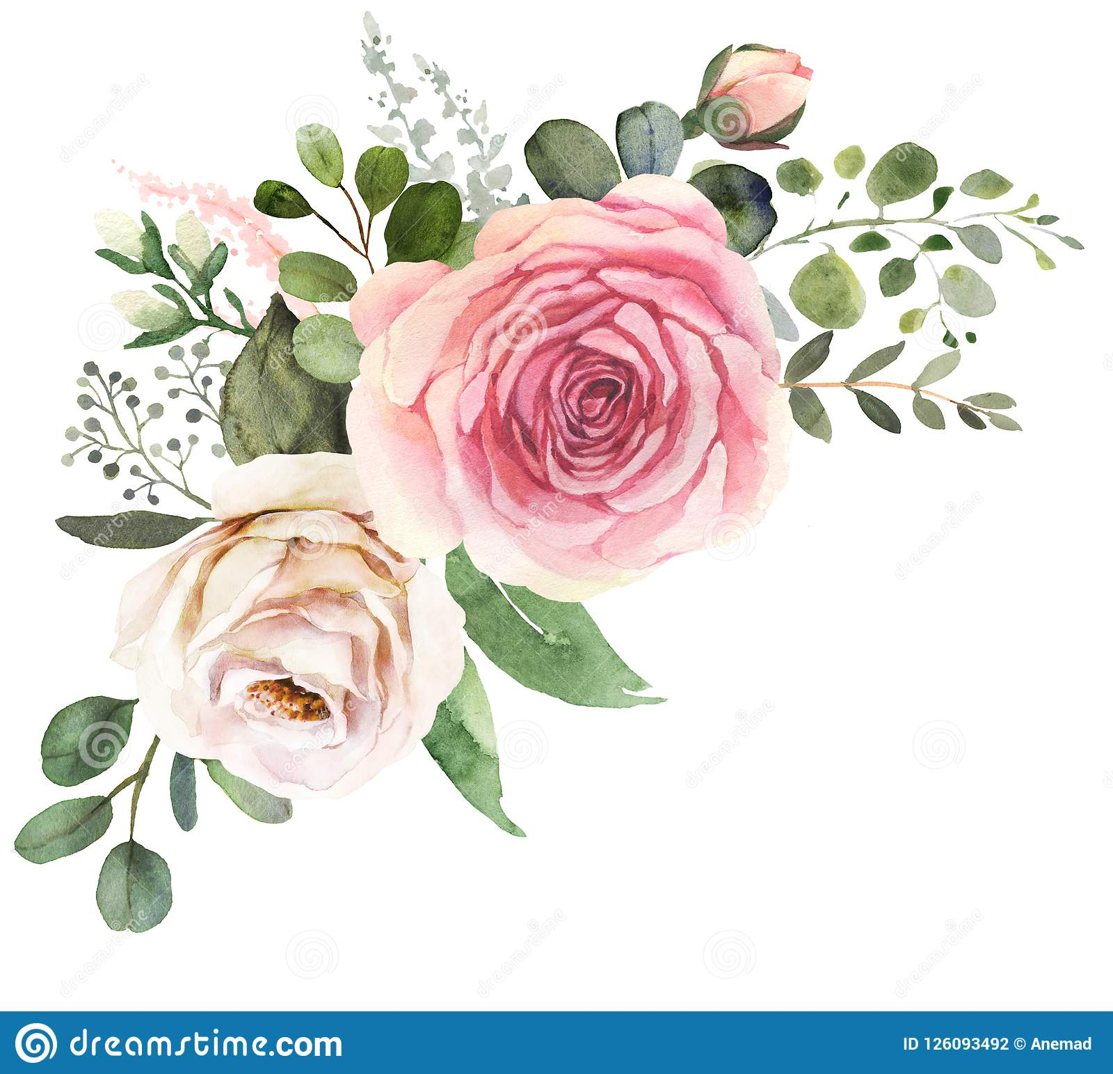Watercolor Floral Bouquet With Roses And Eucalyptus Stock