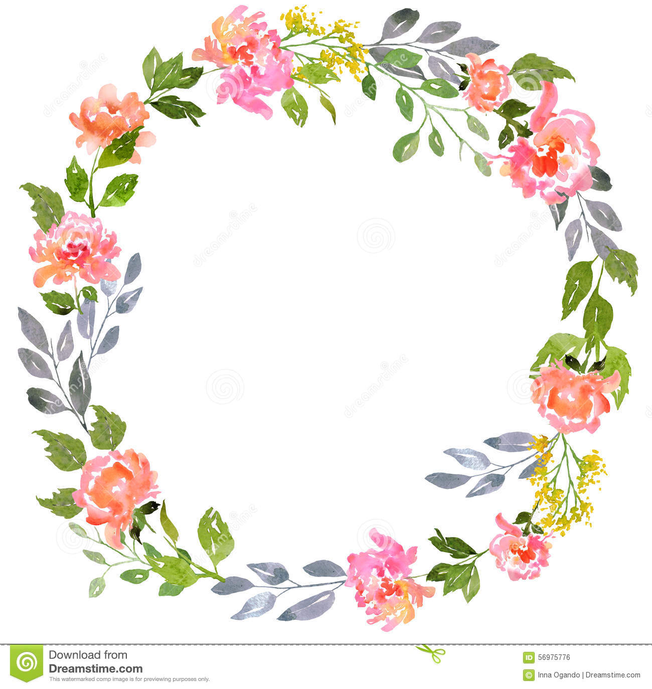 watercolor floral card template stock illustration - illustration of