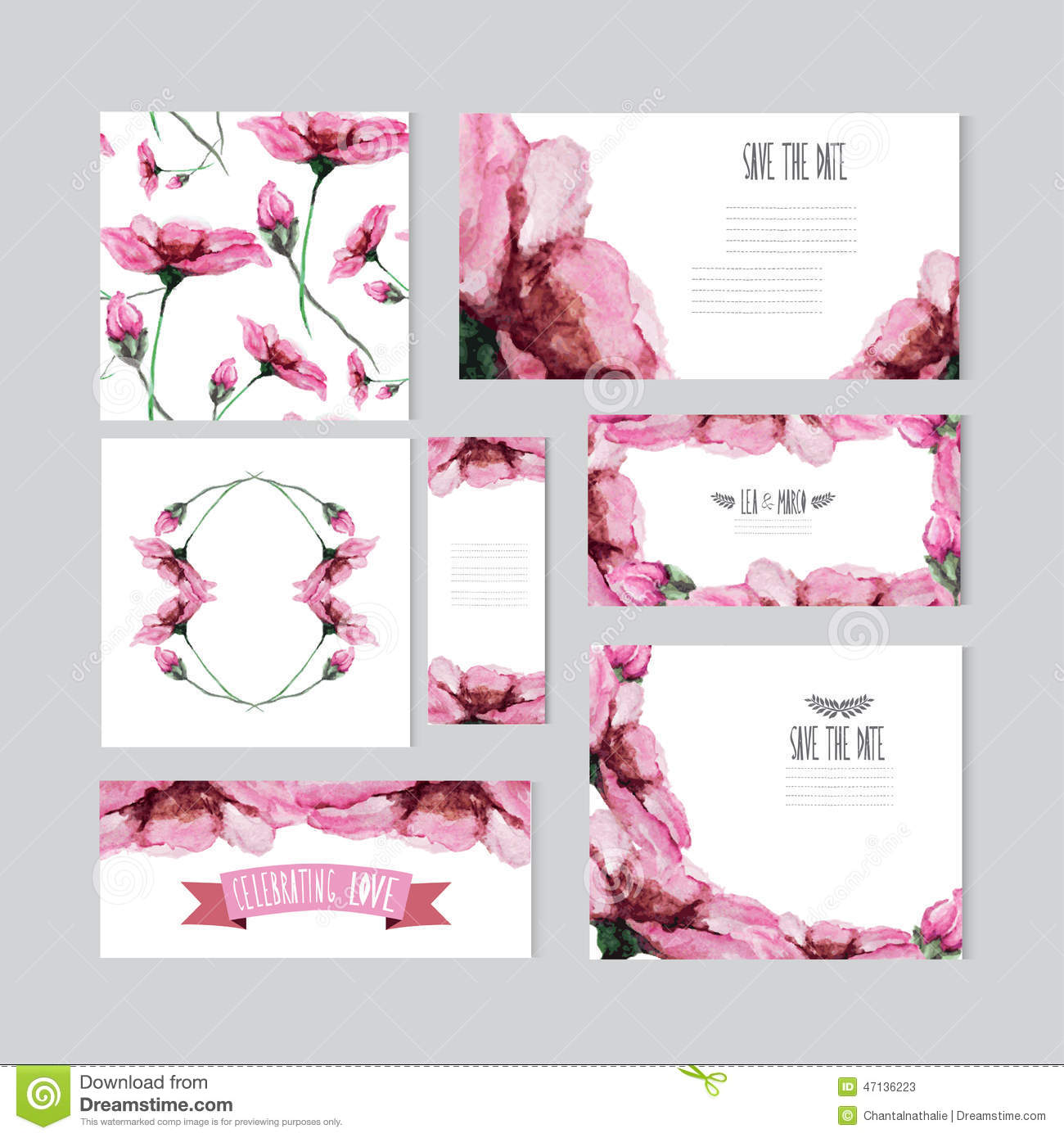 watercolor pink floral cards, design elements. Can be used for wedding ...