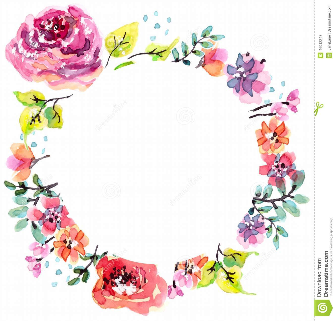 Watercolor Floral Frame Stock Vector - Image: 46012243