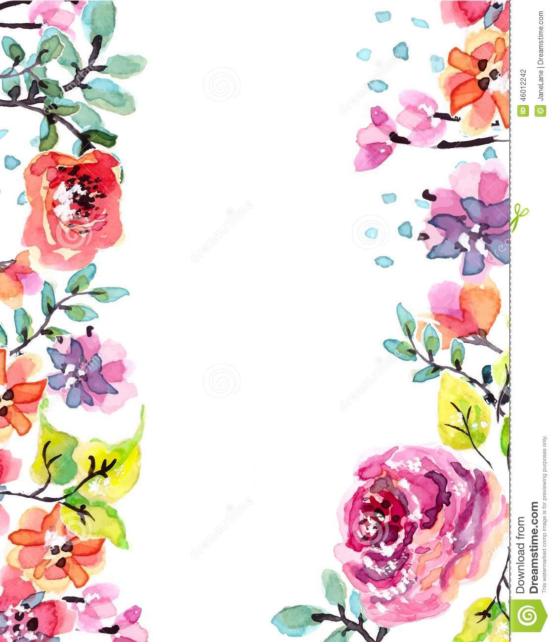 Watercolor Floral Frame Stock Vector Illustration Of Colorful