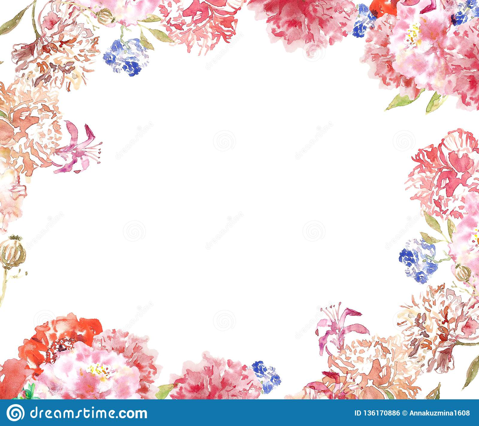 Watercolor Floral Frame Border With Delicate Pink And Beige Peony